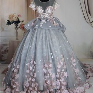 Luxury gray&pink floral ballgown wedding dress,4-6